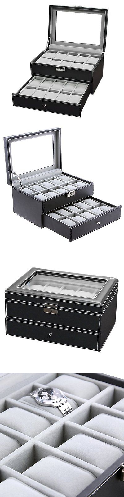 Watch 168164 Watch Box Large 20 Mens Black Leather Display Glass