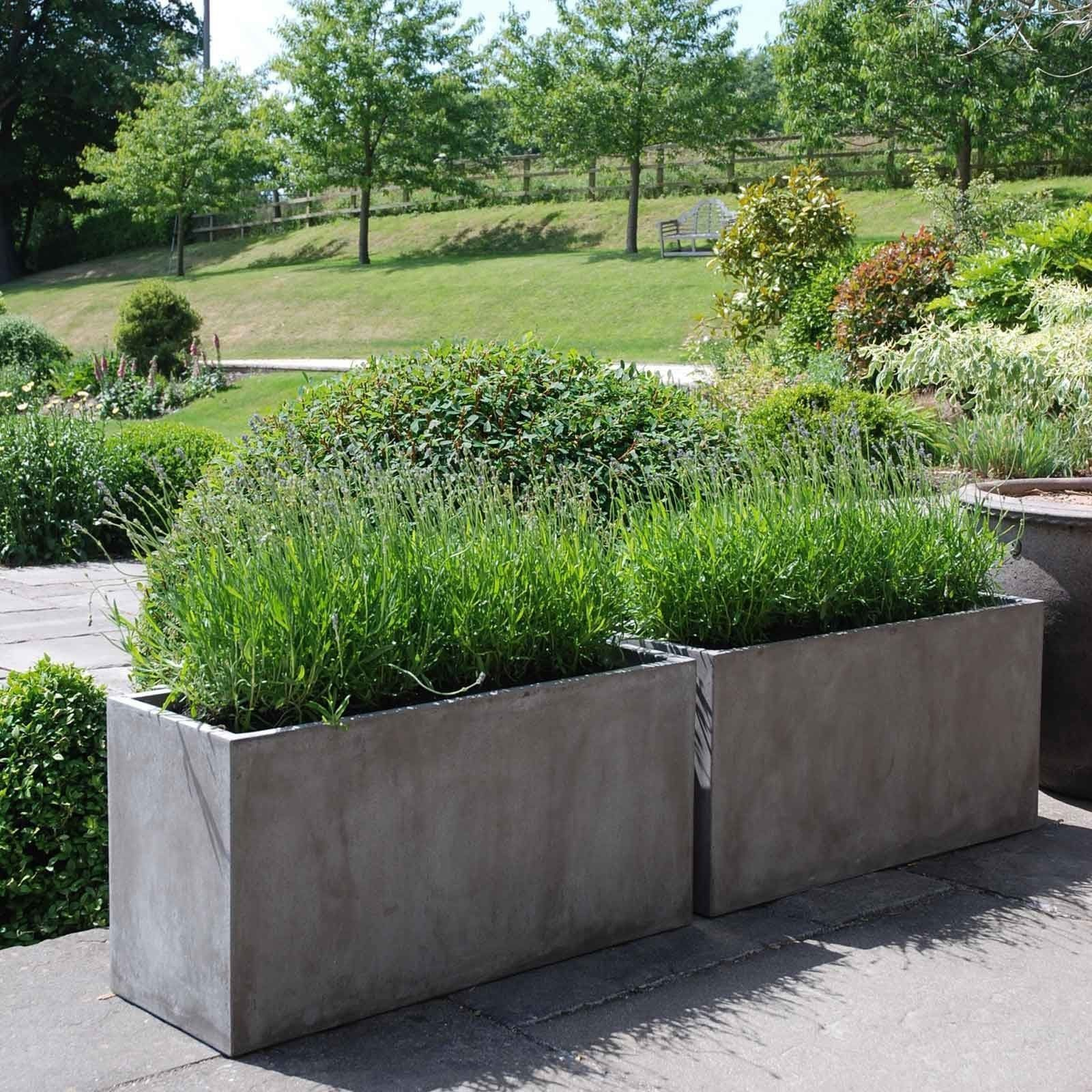 Fresco Large Rectangle Planter In 2020 Large Outdoor Planters Large Garden Planters Large Planters