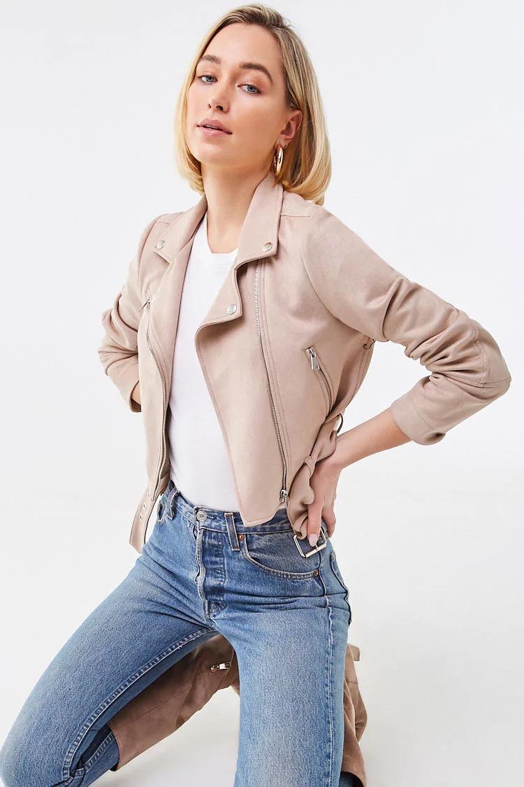 Belted Faux Suede Moto Jacket in 2020 Faux suede moto