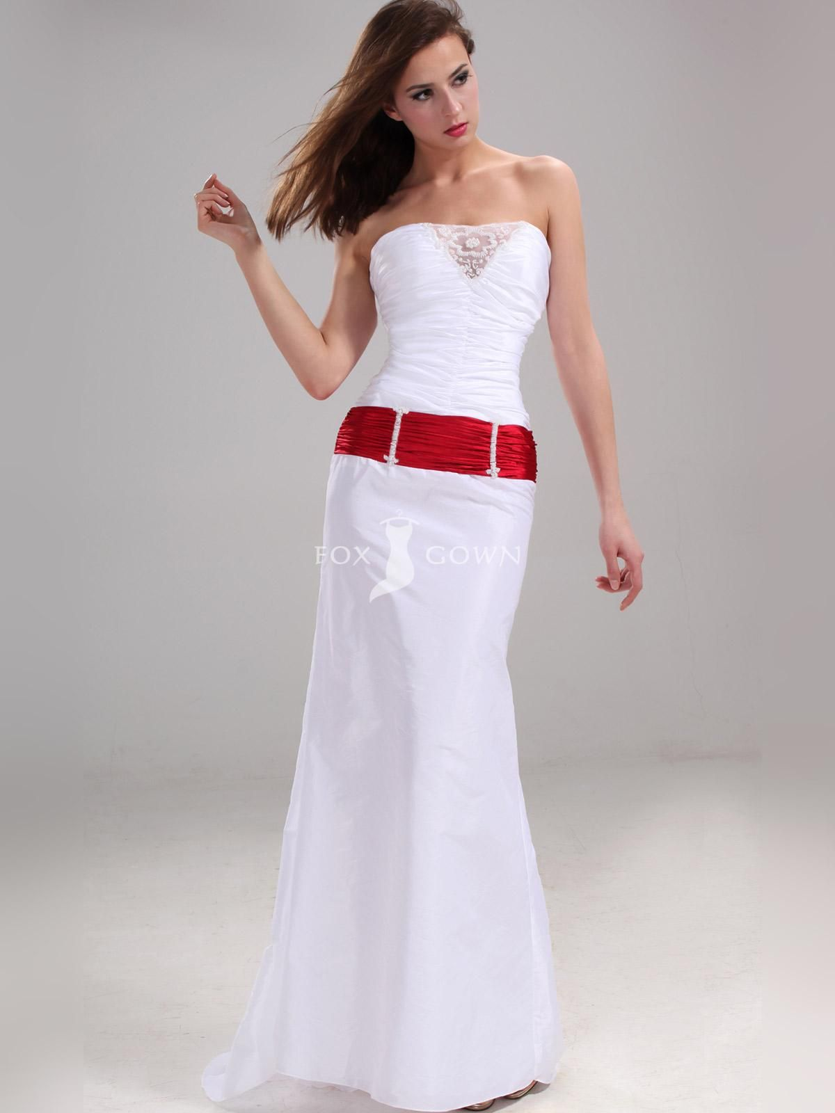white strapless lace v neck prom dress red belt | Wedding Ideas ...