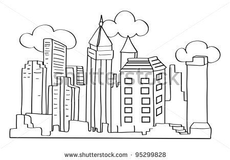 New York Skyline Coloring Page Cartoon Vector Outline Illustration Of A City Skyline Stock Vector Coloring Pages Outline Illustration Cute Coloring Pages