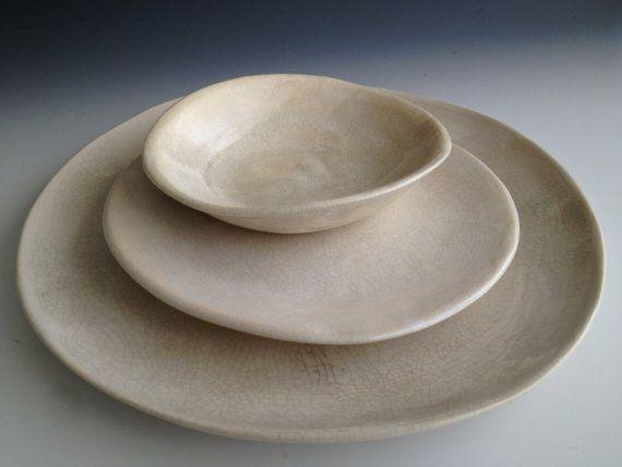 Handmade ceramic plates dinnerware Wedding by Lesliefreemandesigns & Handmade ceramic plates dinnerware Wedding by Lesliefreemandesigns ...