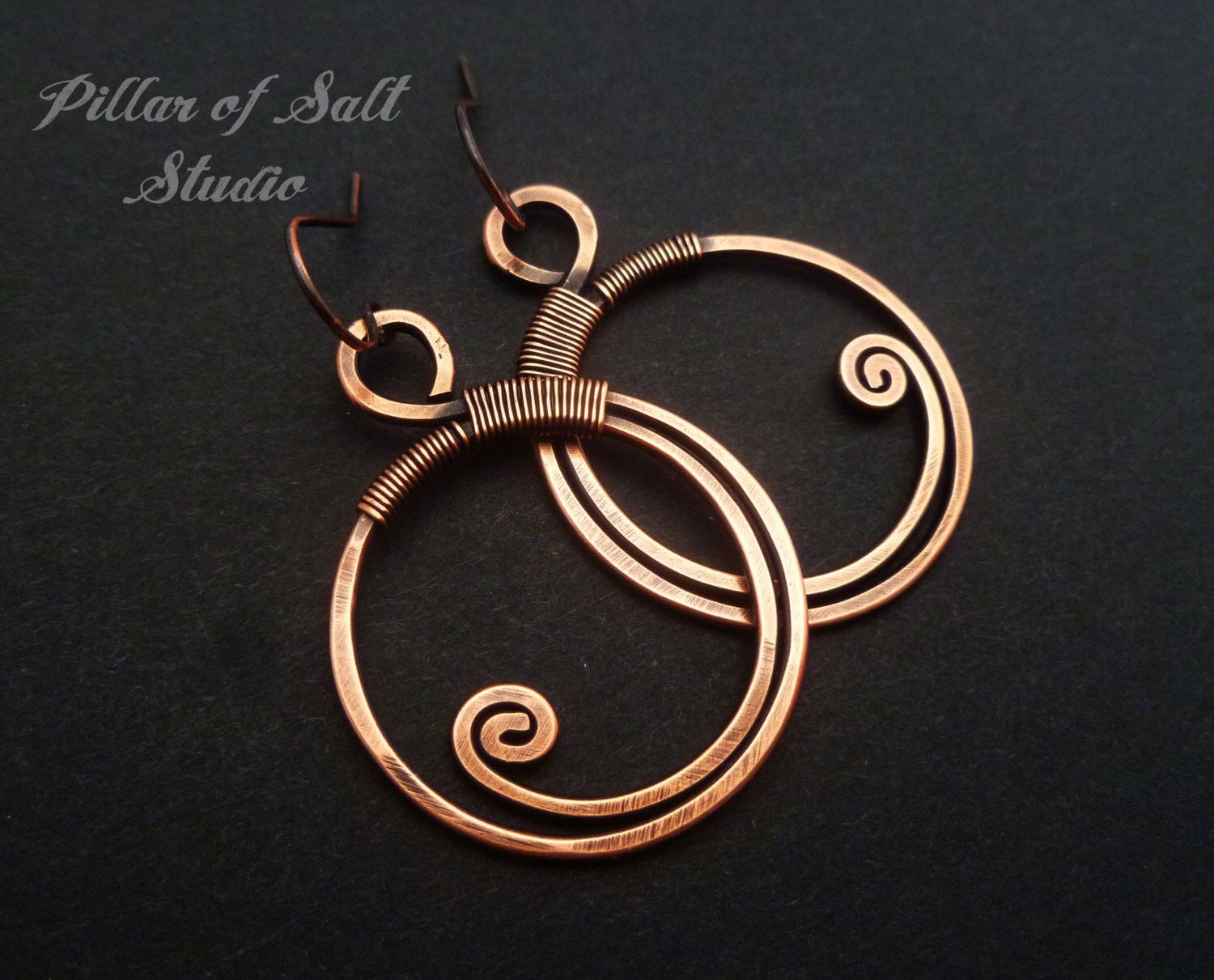 Wire wrapped earrings solid copper earrings wire for Hammered copper jewelry tutorial