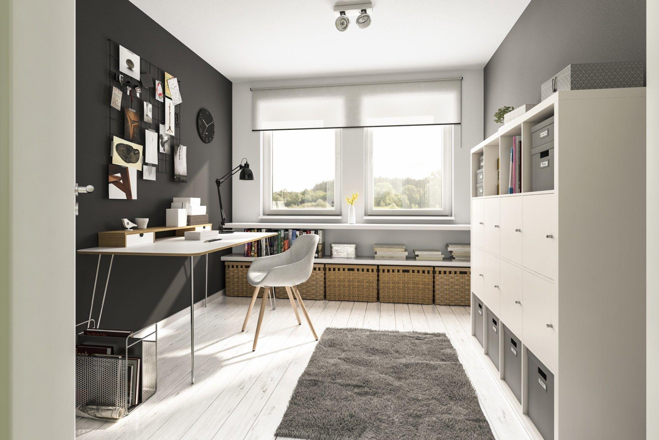 Arbeitszimmer Modern Einrichten Mit Schreibtisch Wandfarbe Grau Mobel Weiss Mit Holz Ideen Innenei Town Country Haus Einfamilienhaus Inneneinrichtung Ideen