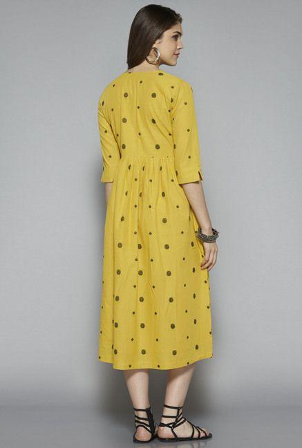 021b0cc53 ... Women Online @ Tata CLiQ. Bombay Paisley by Westside Yellow Polka Dot  Dress