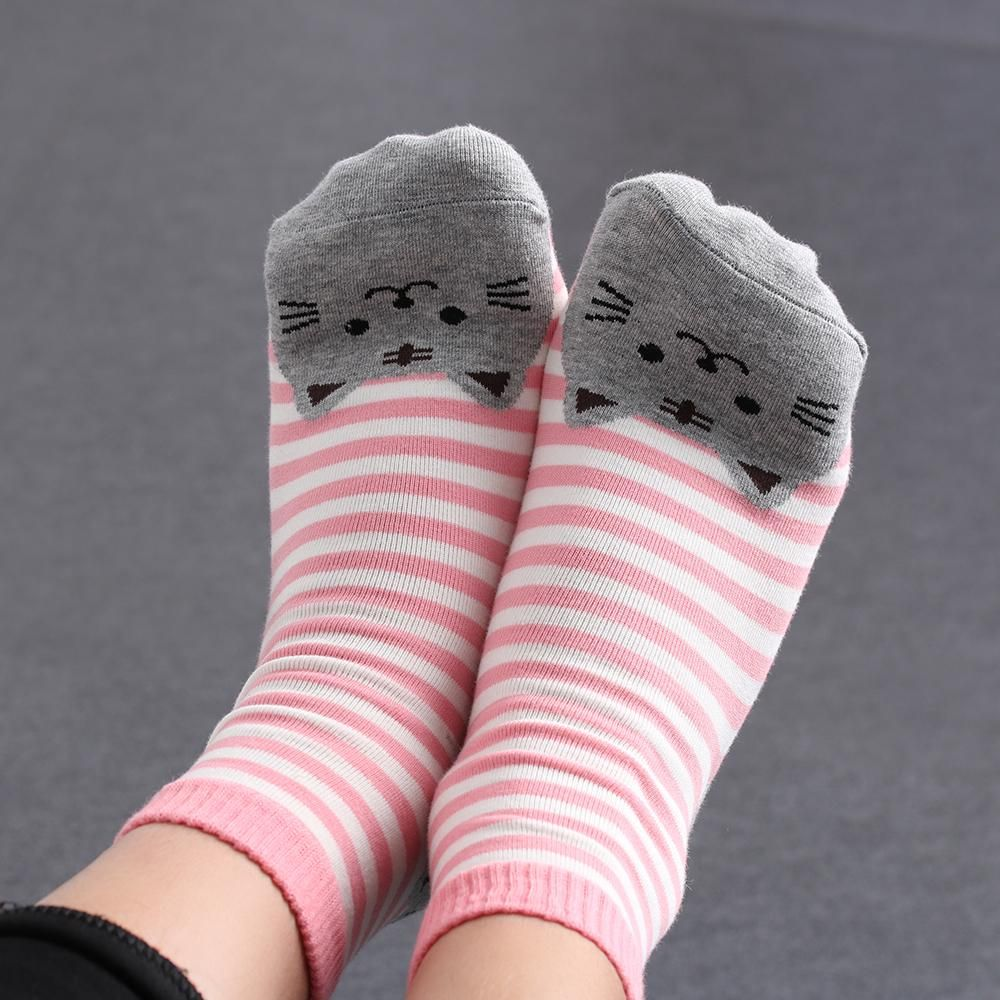 These Striped Cat Printed Cute Women's Crew Socks are so