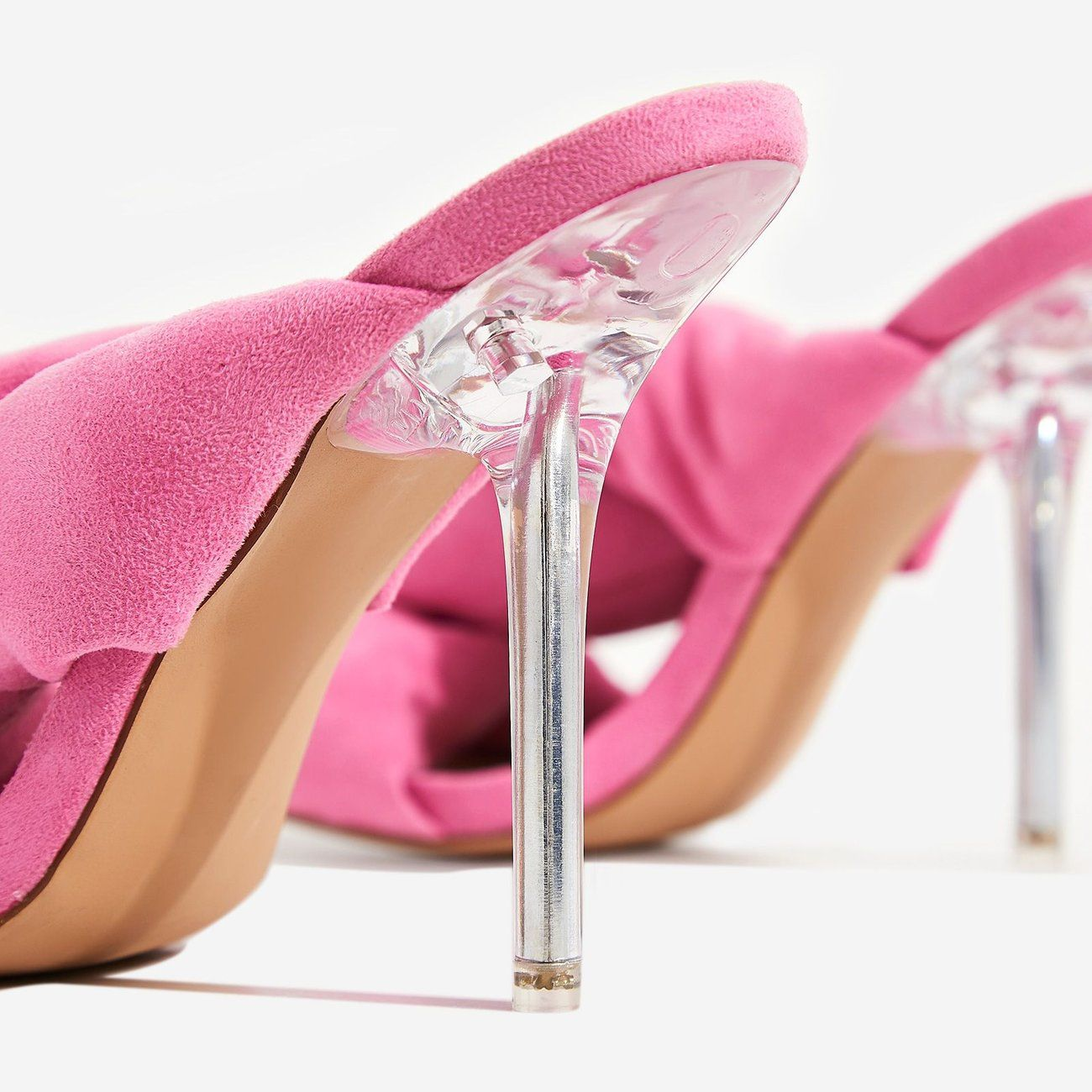 d5a433e30 Shae Cushioned Crossover Perspex Heel Mule In Neon Pink Fleece | EGO ...
