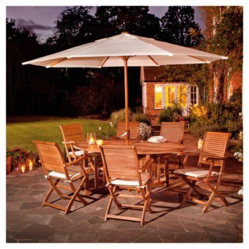 Buy Dorney Teak 6 Seat Set Dressed inc Parasol from our Garden Furniture  Sets range. Buy Dorney Teak 6 Seat Set Dressed inc Parasol from our Garden