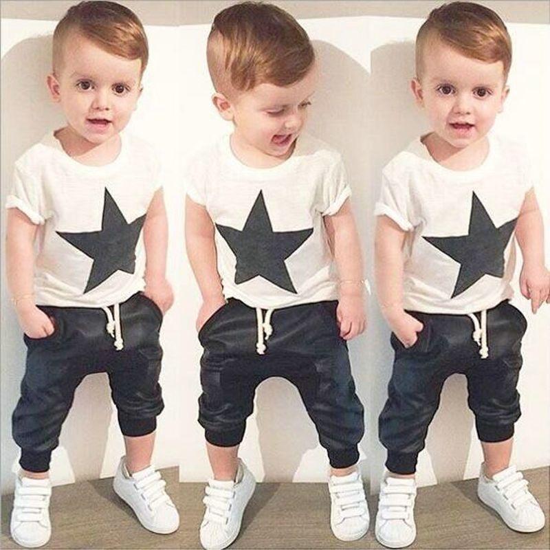 2PCS Summer Toddler Baby Boys Summer Outfit T-Shirt Top+Short Pants Clothes Set
