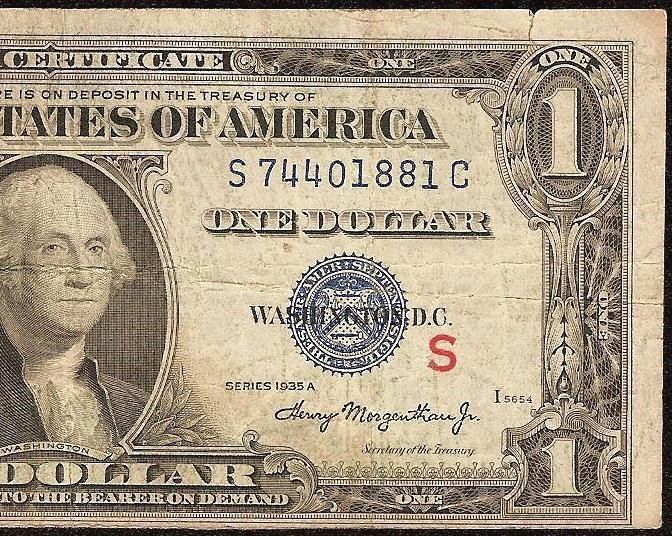 New 1935 A 1 Dollar Bill Red S Experimental Note Silver