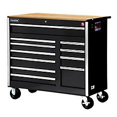 Best 42 Inch 11 Drawer Tool Cabinet In Black With Wooden Work 400 x 300