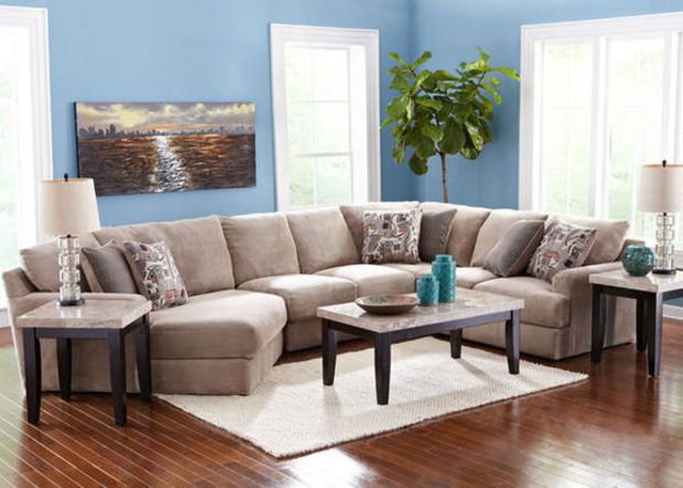 Malibu 3 Pcsectional Featuring Left Arm Cuddler Chaise Endearing The Room Place Dining Room Sets 2018
