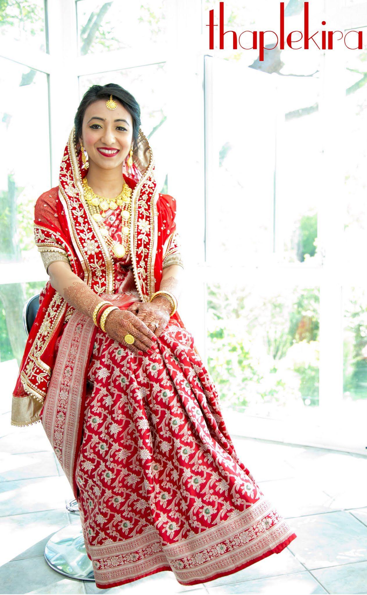 d007c5288cc2a4 Nepali bride ghumti wedding jewelry banarasi silk saree | Saree ...