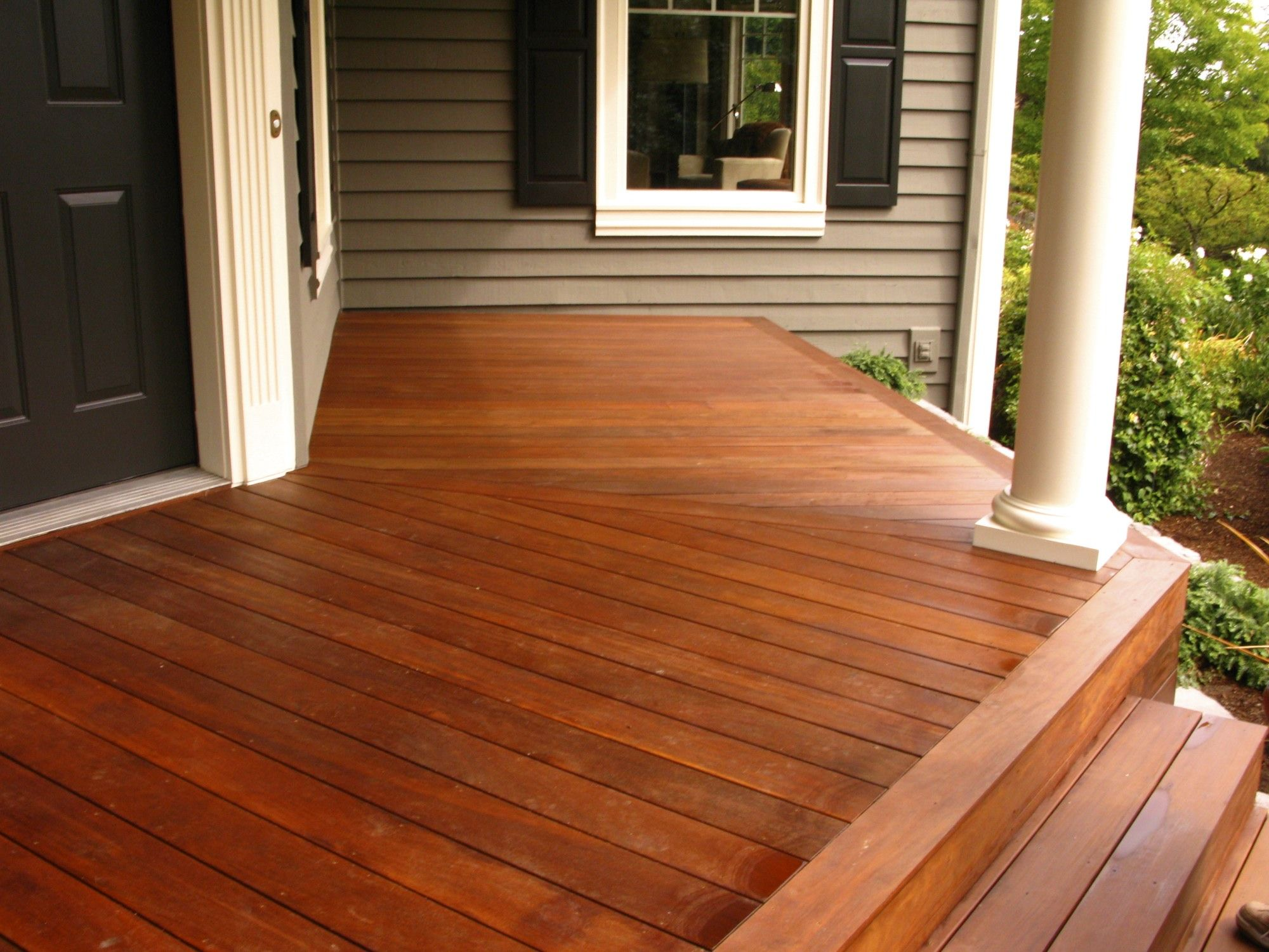 stained cedar porch all american deck