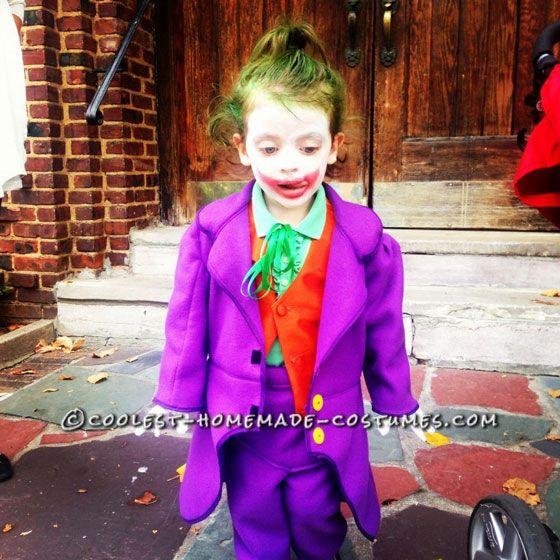 50+ Coolest Homemade Joker Costumes for a Sinister Halloween  sc 1 st  Pinterest & Fun Homemade Joker Costume for a Little Bat-Fan Girl   halloween ...
