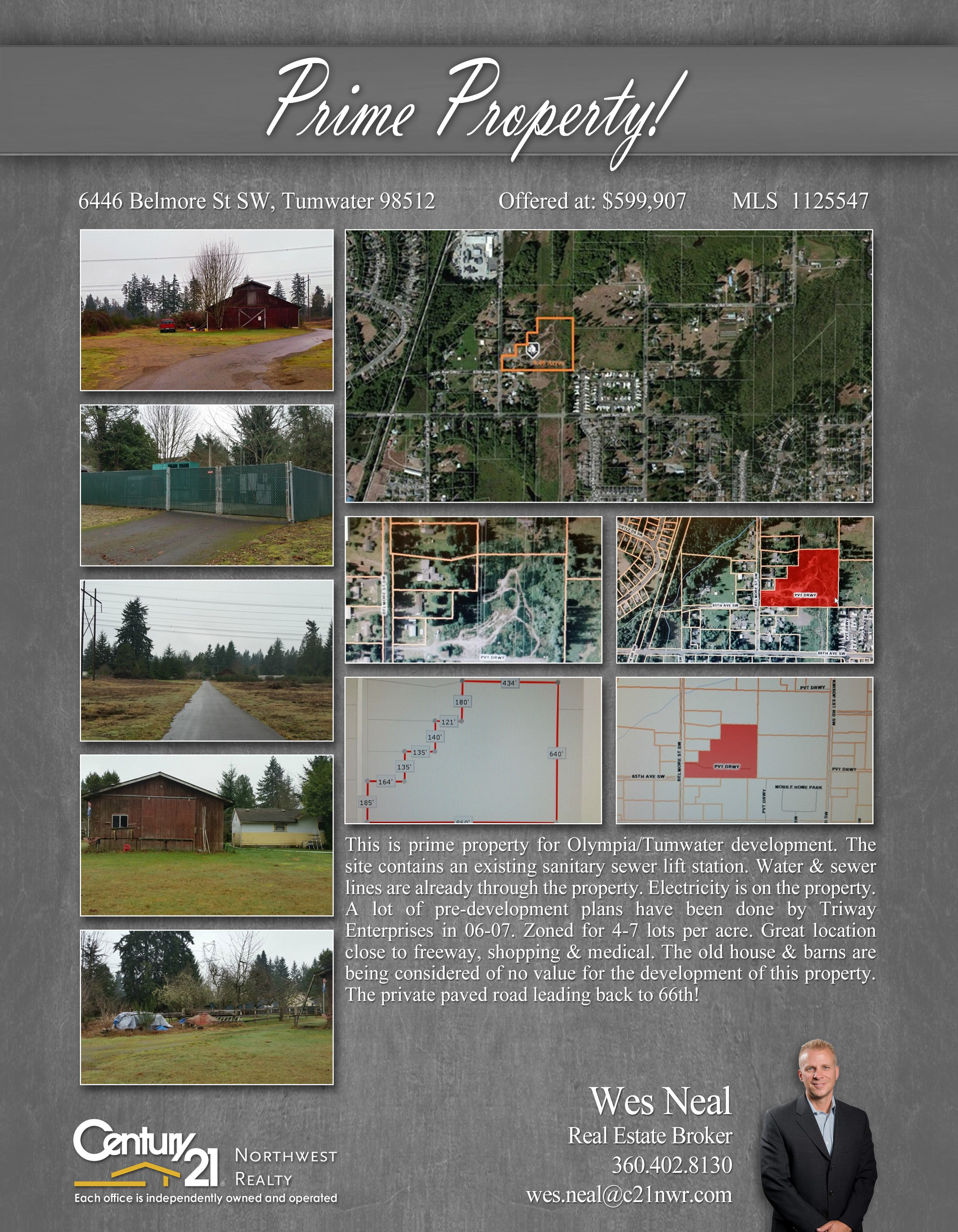 This is prime property for Olympia/Tumwater development. The site contains an existing sanitary sewer lift station. Water & sewer lines are already through the property.   Electricity is on the property. A lot of pre-development plans have been done by Triway Enterprises in 06-07. Zoned for 4-7 lots per acre. Great location close to freeway, shopping & medical.   The old house & barns are being considered of no value for the development of this property. The private paved road leading back…