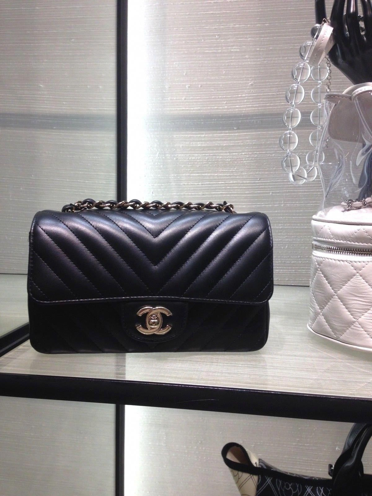 a860a69fd434 NEW CHANEL Current 18S Black Lambskin Chevron Mini Rectangular Flap Bag |  eBay #Chanelhandbags