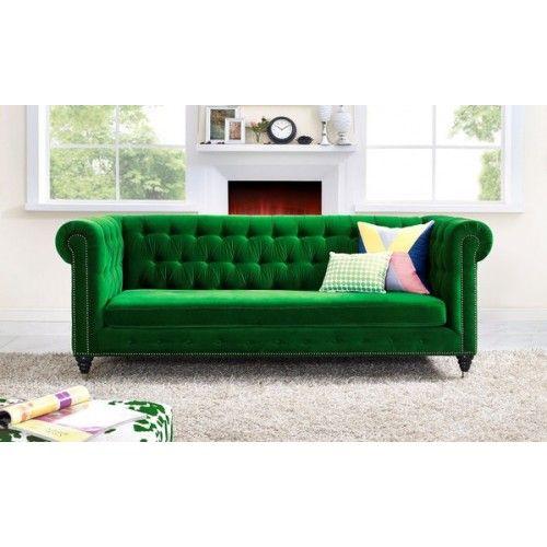 Green Velvet Chesterfield Rolled Arm Tufted Sofa