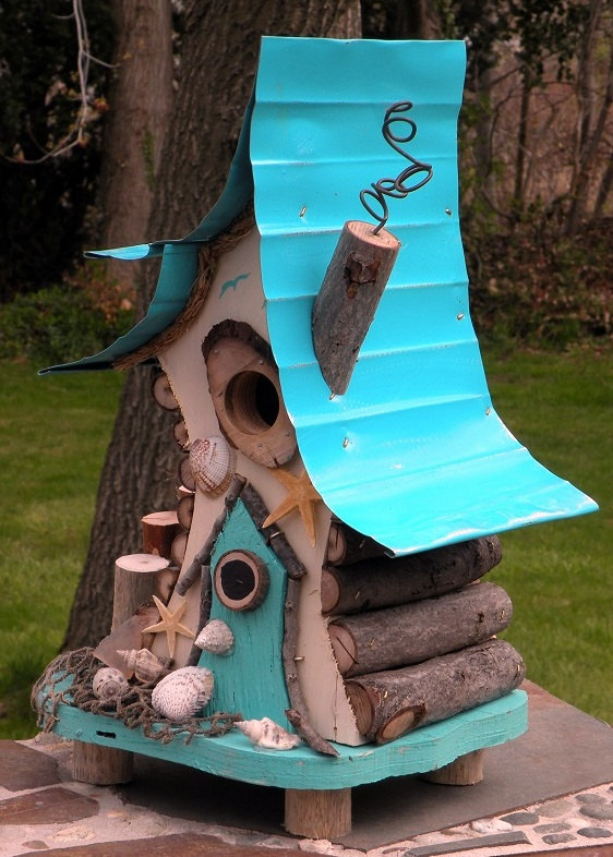 Photo of bird house, birdhouse with insulated metal roof, nautical birdhouse, beach art, functional birdhouse