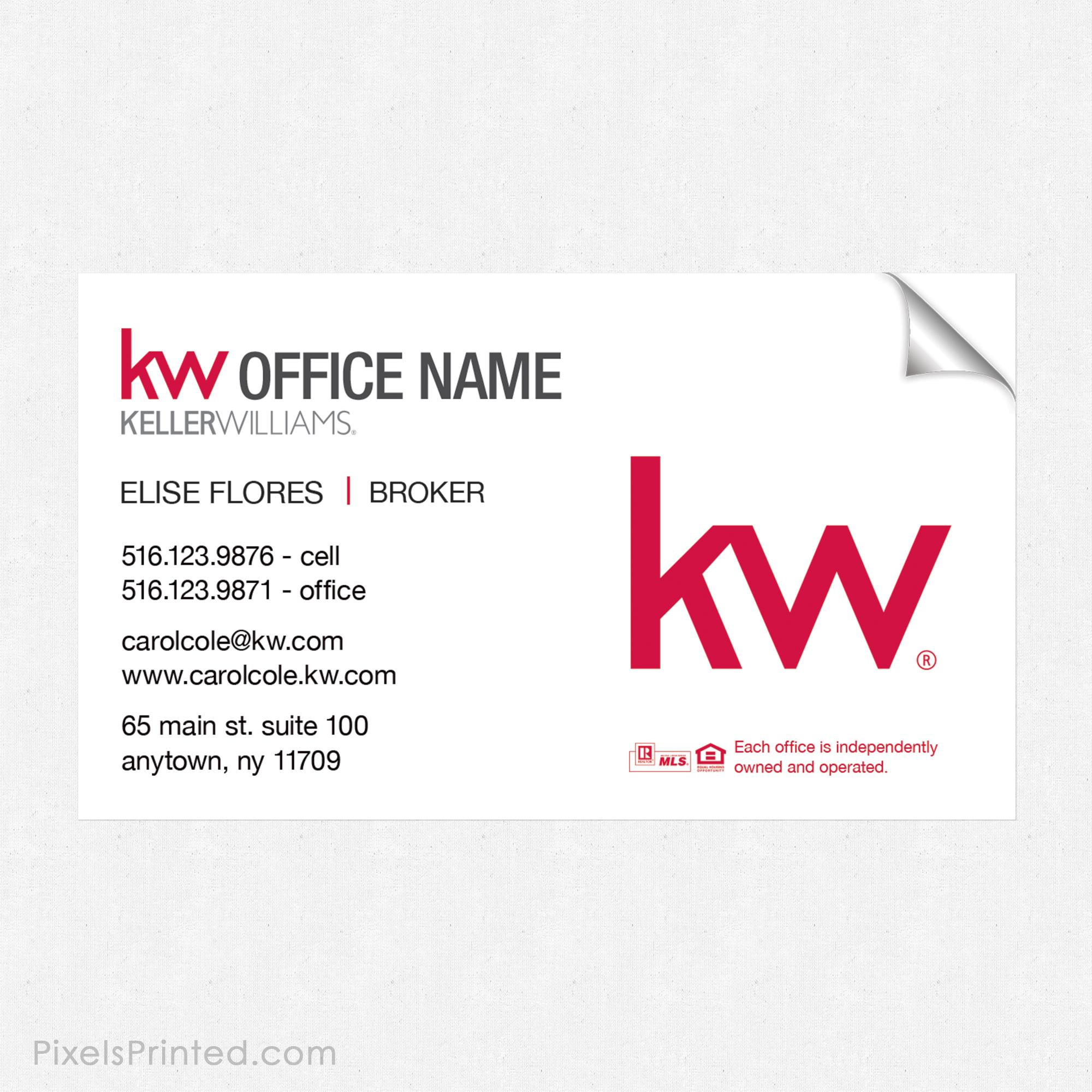 Kw Business Card Sticker Keller Williams Business Cards Magnetic Business Cards Real Estate Business Cards