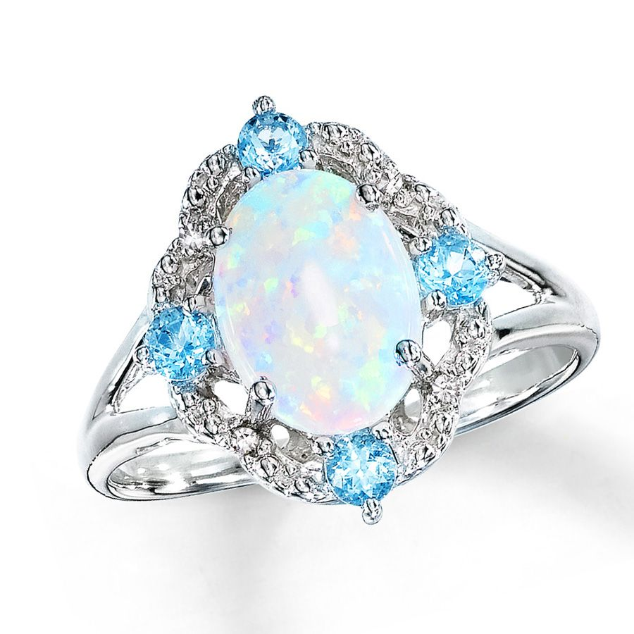 Aquamarine Aquamarine Silver Rings Opal Silver Ring Opal and Silver Opal Jewelry Silver Ring Christmas Gift Free Shipping Opal Rings