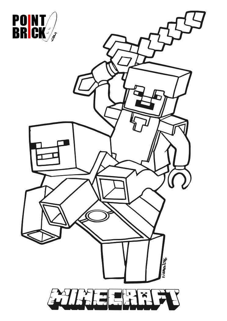 Disegni Da Colorare Lego Minecraft Steve E Alex Coloring Pages