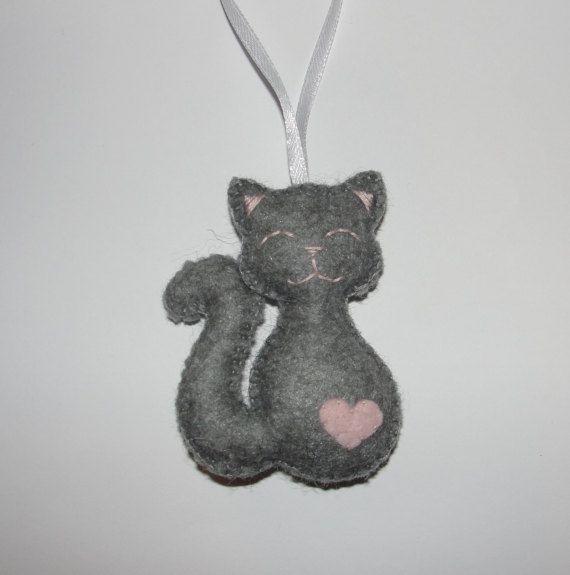 1a00fd19381 Cute Wool Felt Cat Ornament Gray Cat Ornament by NitaFeltThings ...