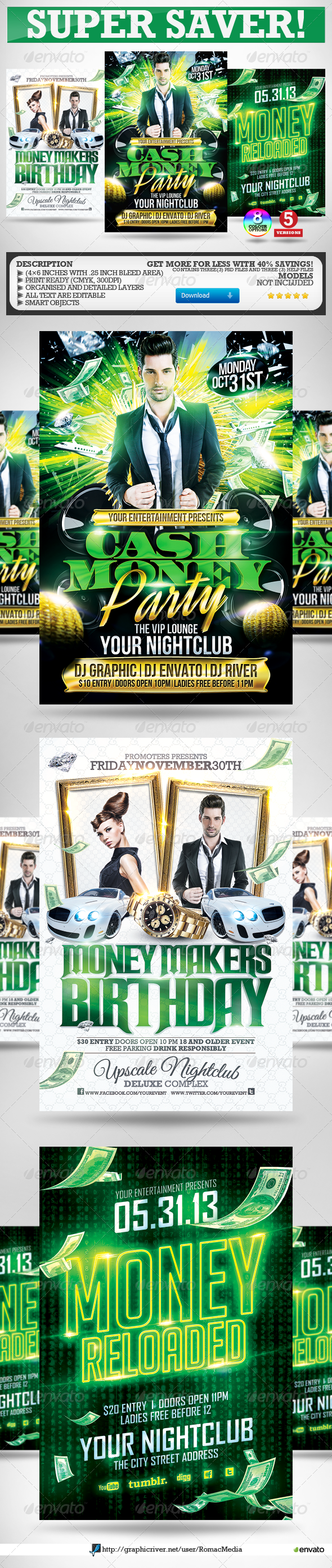 Cash Money Party Flyers Super Bundle  Cash Money Party Flyer And