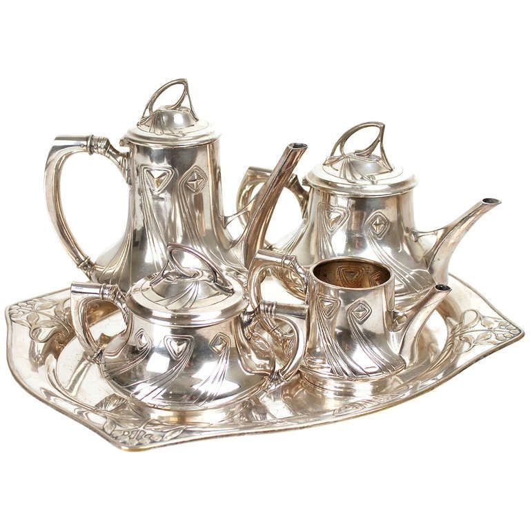 1900 Wmf Art Nouveau Jugendstil Coffee And Tea Service Set