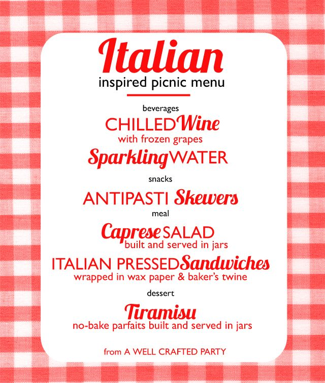 Picnic Week Italian Inspired Picnic Menu - A Well Crafted Party - italian menu