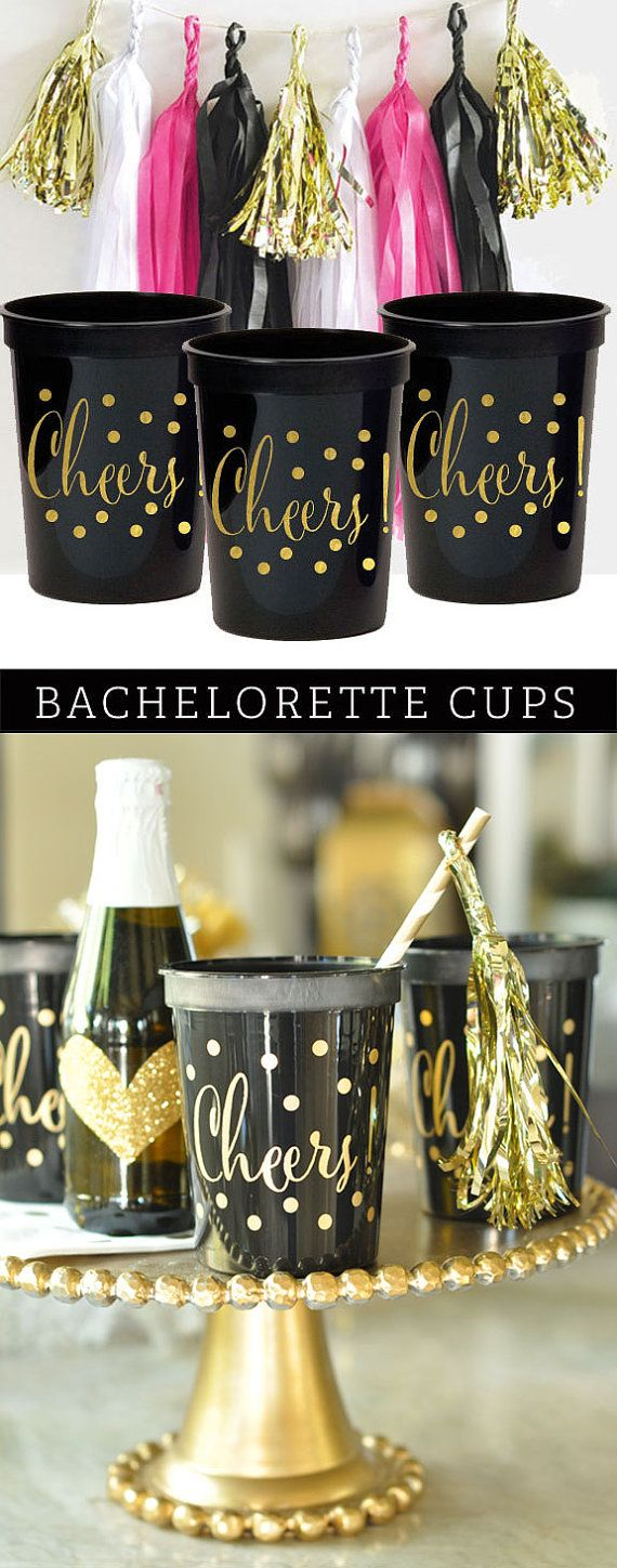 Bachelorette Party Decorations Cups Black And Gold Cheers Elegant EB3104CH 25pcs CHEERS CUPS