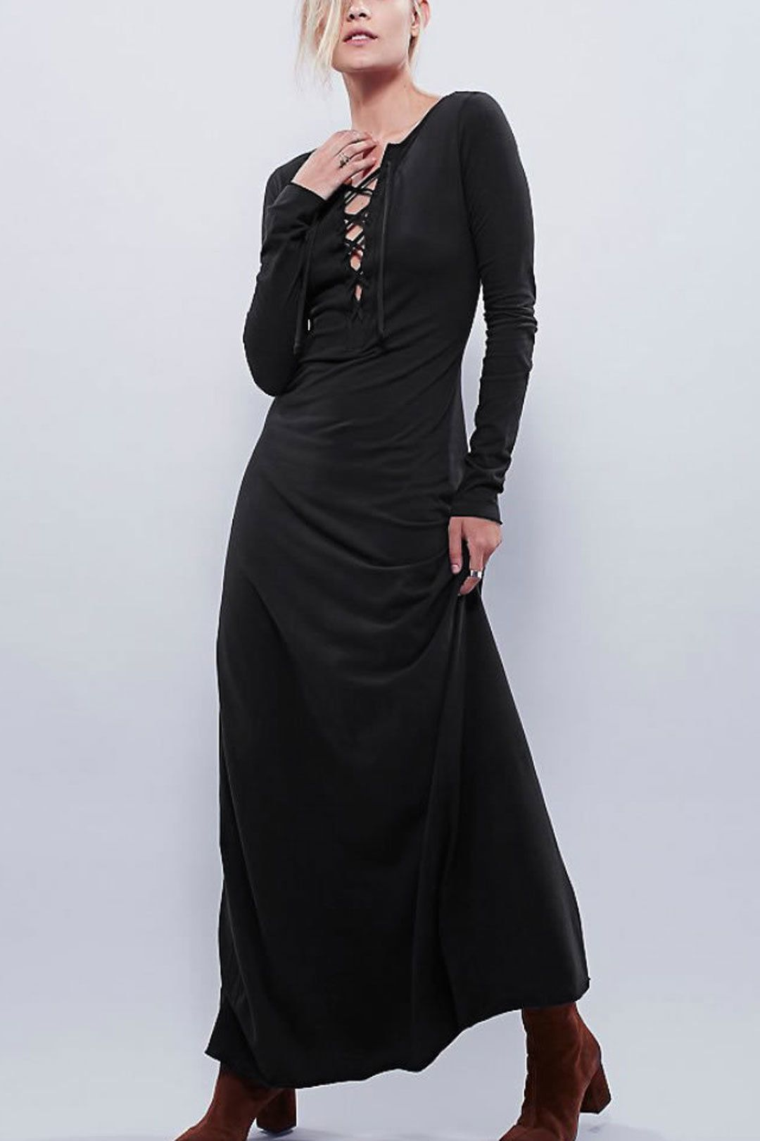Lace up long sleeves maxi dress us yoins madam malkins
