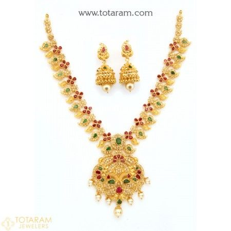 22 Karat Gold Peacock Necklace Long Earrings Set with Uncut