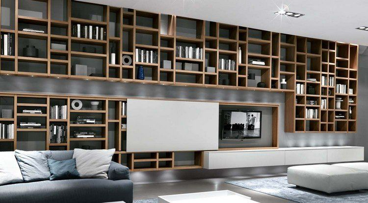 Meuble tv biblioth que en 40 id es pour organiser le rangement bibliotheque bibliotheque for Idee rangement salon