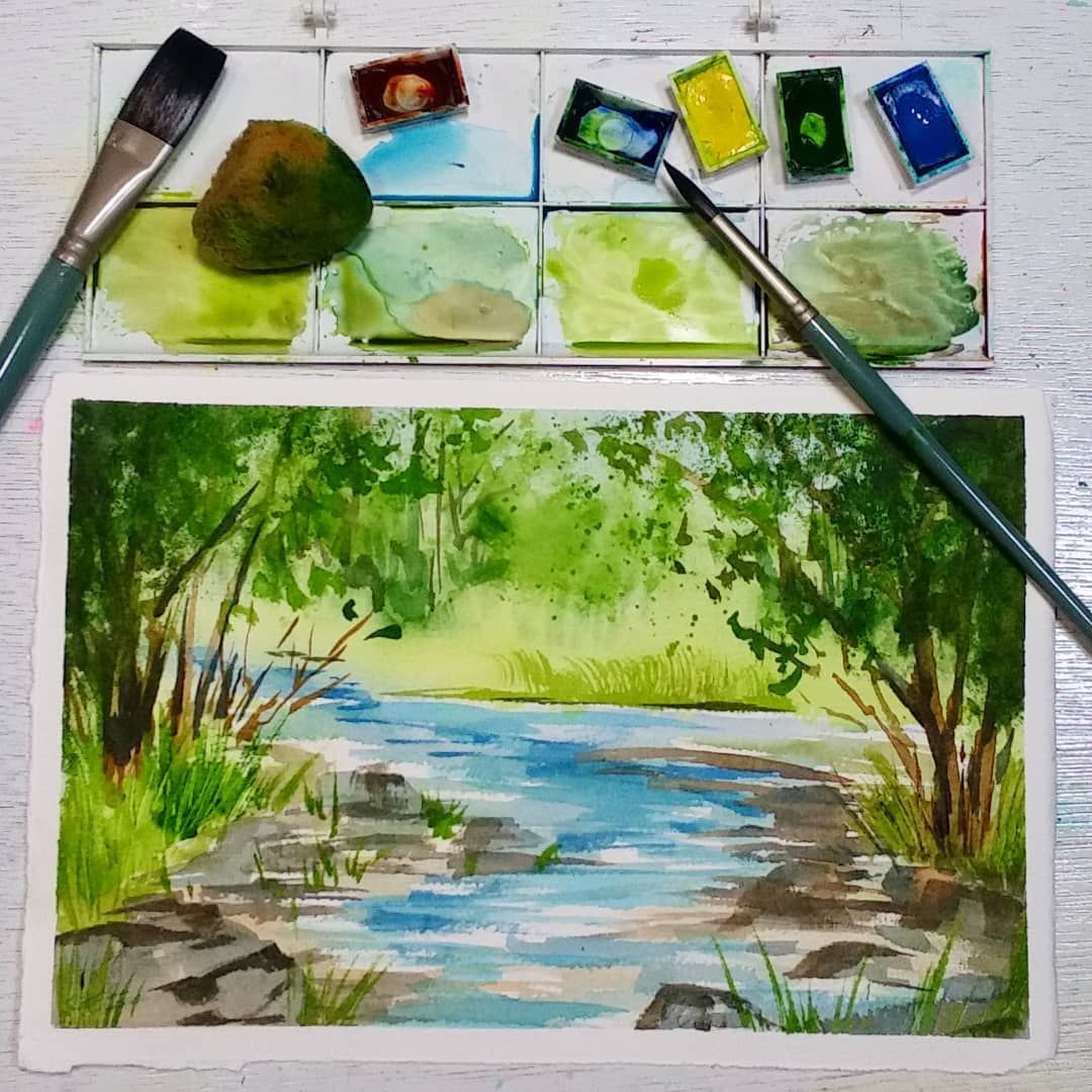 Live Show Today Easy Beginner Landscape Watercolor Landscape