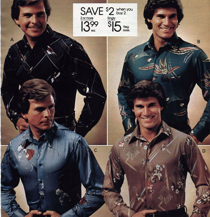 Men's Polyester Print Shirts from a 1981 catalog. #1980s #vintage ...