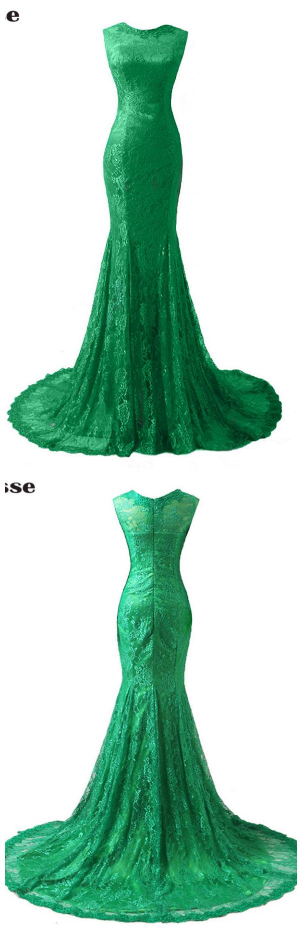 Lace appliques mermaid long evening dresses vestido de festa long