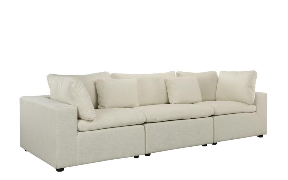 Alvina Contemporary Linen Lounge Sofa Fabric Sofa Classic Living Room Lounge Sofa