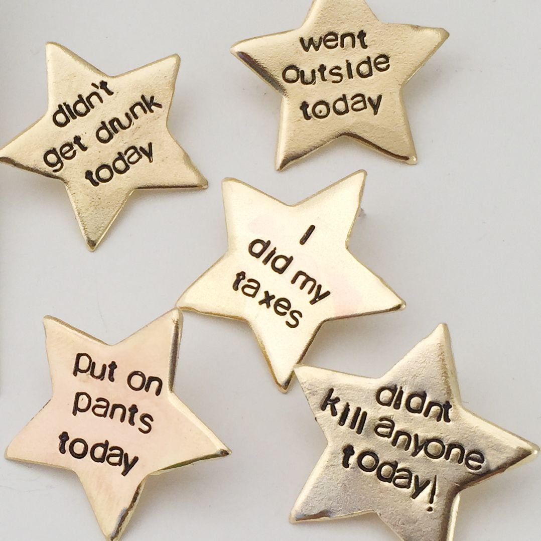 Adult Gold Star Pins Gold Stars Crafts Stamped Jewelry