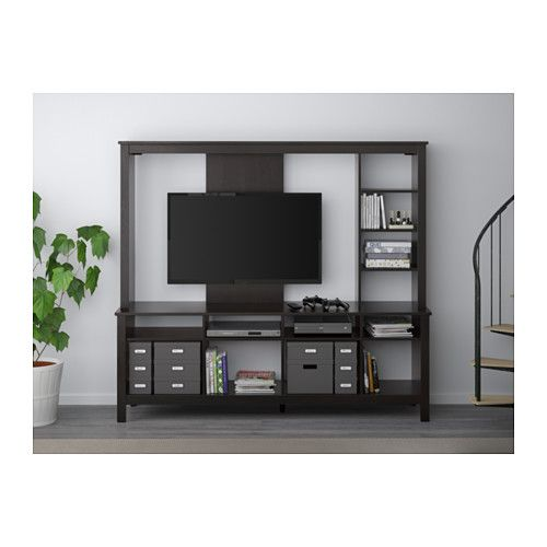 tomn s tv storage unit ikea you can integrate the tv into the shelf system and still have plenty. Black Bedroom Furniture Sets. Home Design Ideas