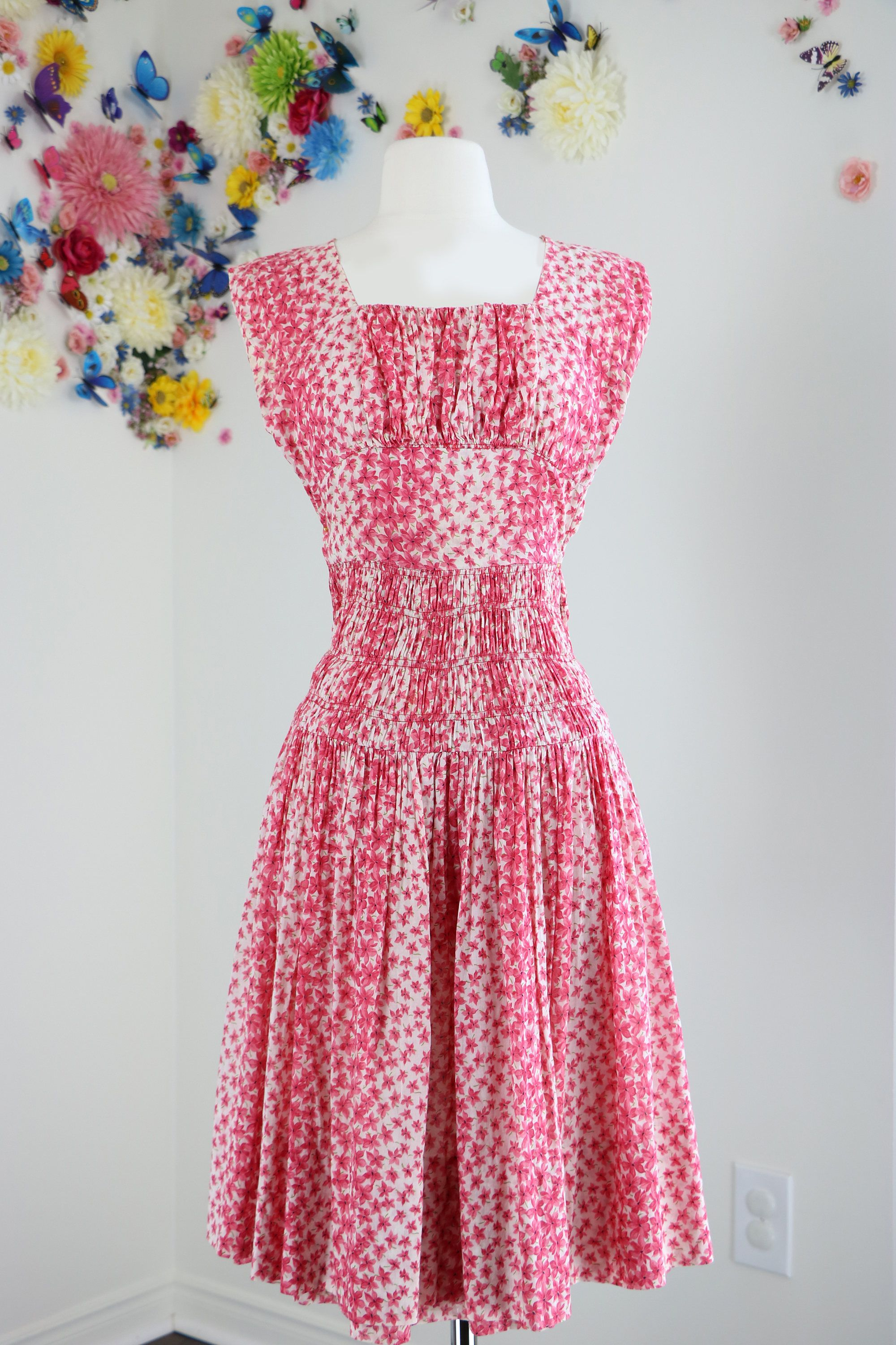 84d2f3f12 Vintage 1950s Red Pink White Floral Light Weight Cotton Fit And Flare Midi  Summer Dress Ruched Waist Sleeveless Size XS Betty Draper Style by ...