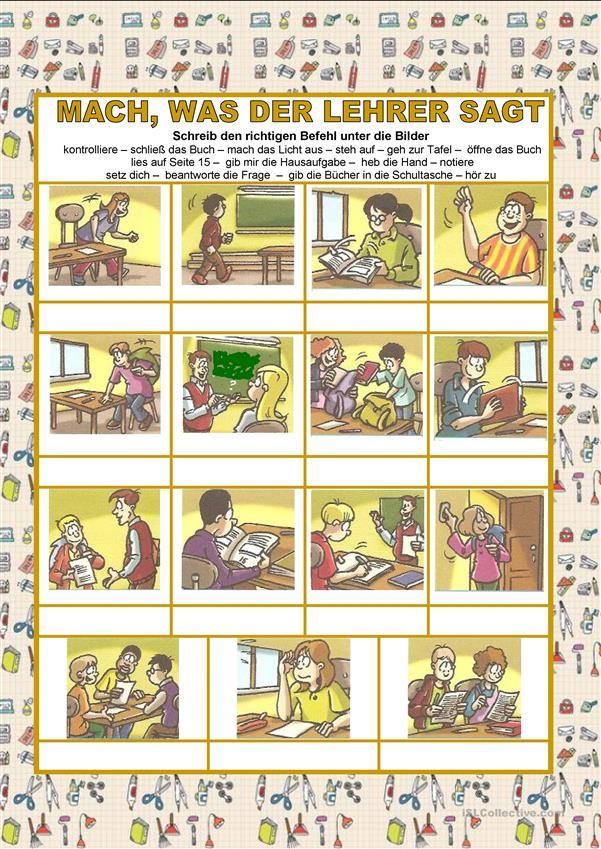 Schule - Mach, was der Lehrer sagt - Imperativ | Német feladatlapos ...