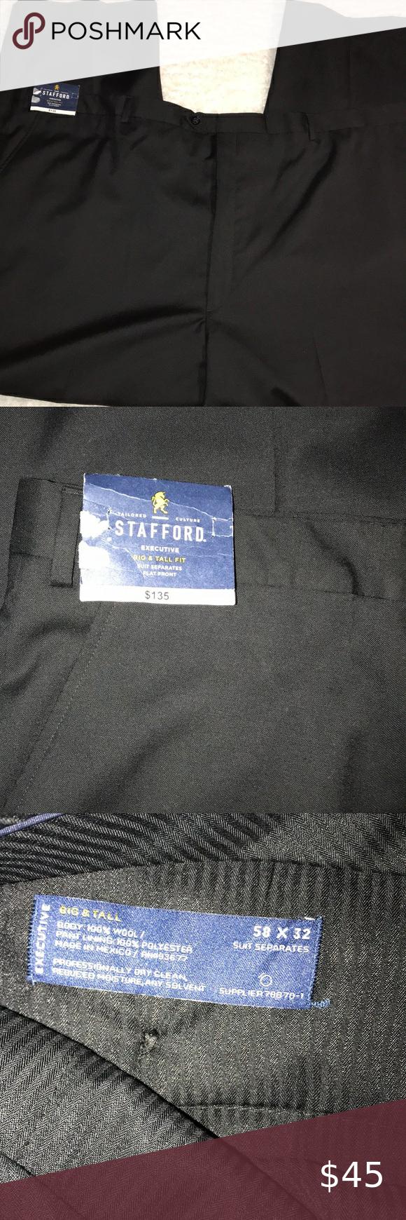 Stafford Dress Pants Black 58x32 Wool Stafford Dress Pants Size 58x32 100 Wool Big Tall Flat Front Two Back Pockets W Black Pants Dress Pants Clothes Design [ 1740 x 580 Pixel ]