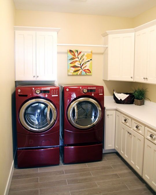 Lg Pedestal Washer And Dryer In Red For Laundry Room Red Laundry