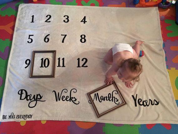 Super Soft Calendar Growth Blanket Baby Shower Newborn Baby Etsy Baby Calendar Baby Monthly Milestones Baby Month By Month