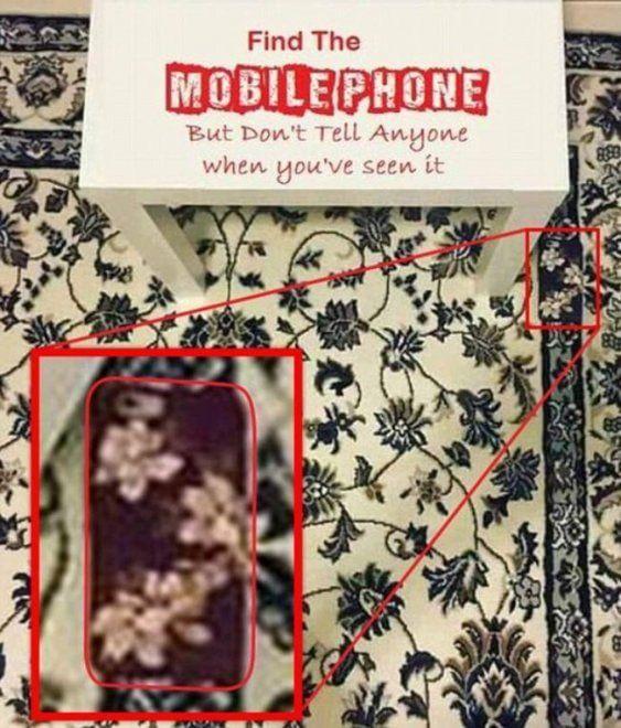 Un telefono cellulare nascosto, quasi introvabile. La foto sta facendo il giro del web ed è stata condivisa finora da più di 16mila utenti. Nell'immagine pochi oggetti: un tavolino bianco, un tappeto a fiori e un cellulare. Trovatelo
