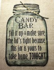 Rustic Chic Country Burlap Wedding Sign CANDY BAR MASON JAR SIGN 8x10
