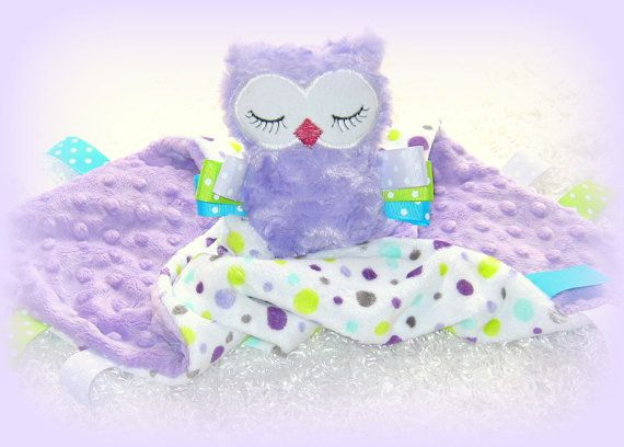 Owl Minky Security Lovey Baby Girl Baby Shower