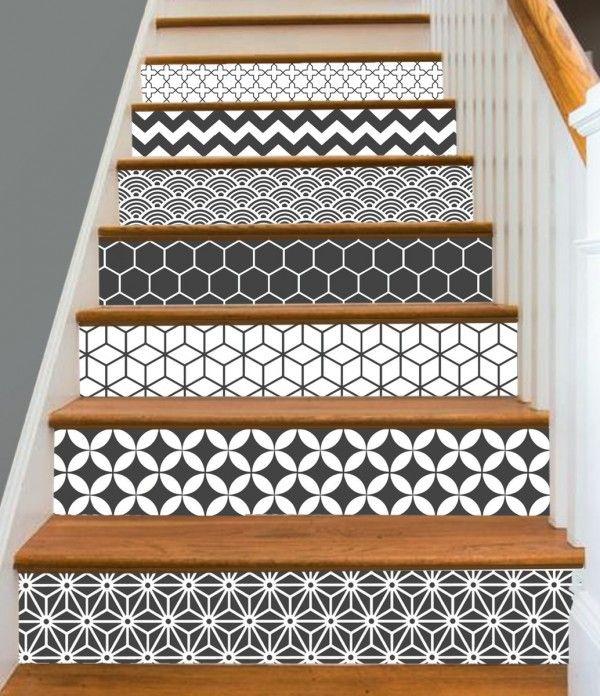 relookez votre escalier avec des stickers tout savoir en 1 min adh sif pinterest. Black Bedroom Furniture Sets. Home Design Ideas