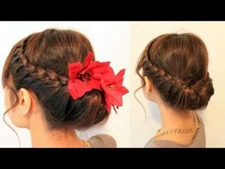 Holiday Braided Updo Hairstyle For Medium Long Hair Updo Howto Braided Hairstyle Video Hair Bell Mexican Hairstyles Hair Styles Braided Hairstyles Updo